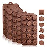 Silicone Candy and Chocolate Molds: Flexible Baking Molds for Chocolate, Shaping Hard or Gummy Candies, Keto Fat Bombs, Jello - Hearts, Stars, Flowers, Emojis, Fun Shapes in Brown Trays, 6 Pack