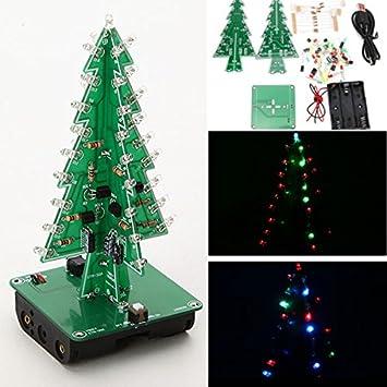 Bluelover Árbol De Navidad Led Kit De Flash 3D Diy Kit De Aprendizaje Electrónico-Tres Colores: Amazon.es: Hogar