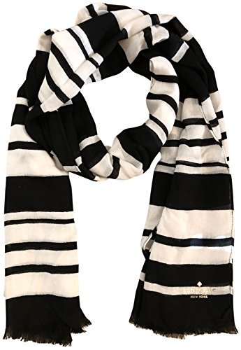 Kate Spade Woman's Cape Stripe Oblong Scarf Black White