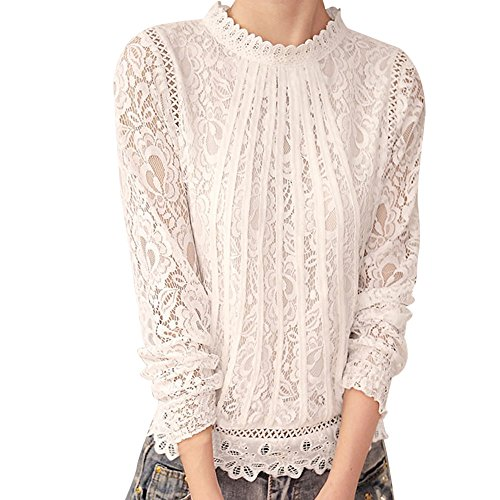 Women Long Sleeve Lace Patchwork Blouse Slim Fits Sexy Autumn Winter High Neck Shirts (XL, White) ()