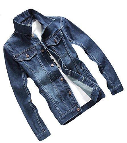 Pocket Jacket breasted Single Coat Slim Mens Fit 3 Denim Generic qC7wZx58