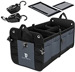 Features and Benefits ✓ All-In One Grey Auto Trunk Organizer allowing for as many as 4 compartments which includes 2 removable sub-dividers for customization  ✓ 11 pockets in total to store small, medium, big items - 2 large expandable qualit...