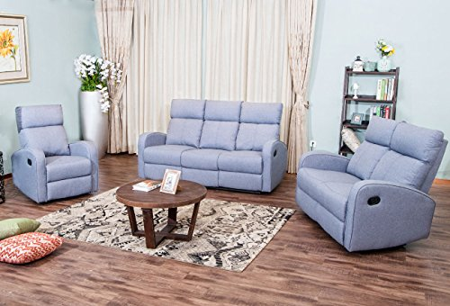 Harper & Bright Designs, Sectional Sofa Set Recliner Sofa Chair Fabric Accent Chair Reclining Couch Manual Recliner Motion for Living Room Furniture (Single Sofa, Loveseat & 3 Seat Sofa)