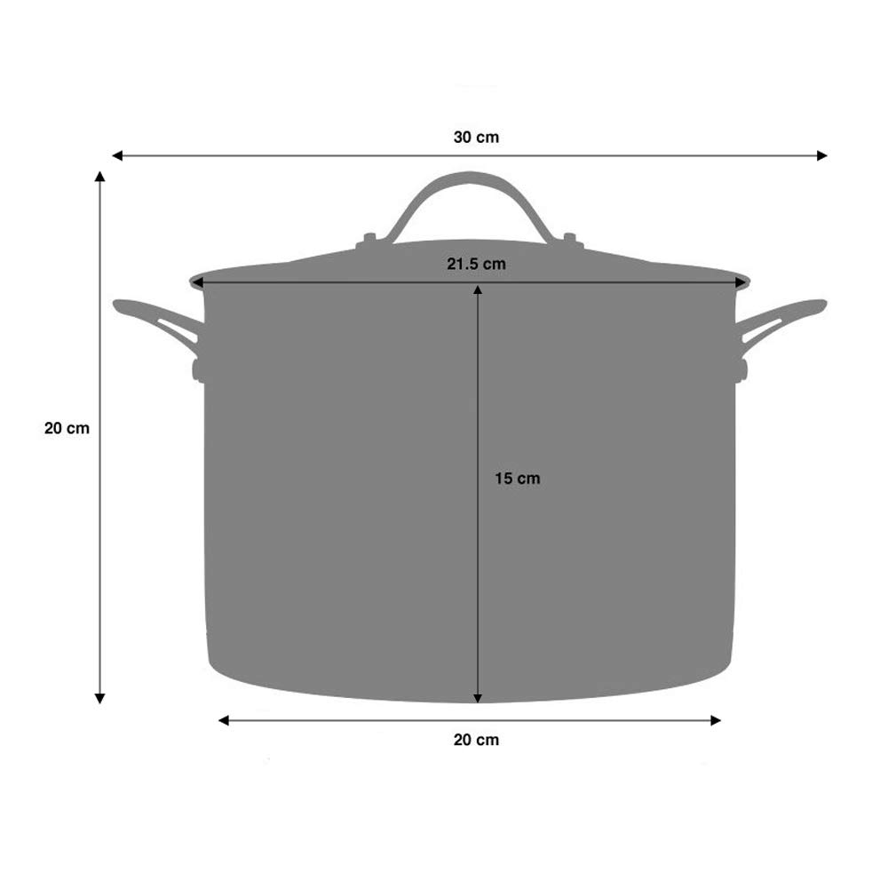 Toughened Glass Lid and Heat-Resistant Handles Large Induction Pan with Ceramic-Reinforced Coating 24cm // 7.2L ProCook Professional Granite Non-Stick Stock Pot with Lid