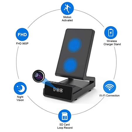 Wireless Charger Covert Camera,Wireless Security Nanny Camera with Motion Detect, Invisible Camera Lens,Night Vision,App Control and Remote Live View Covert Camera Recorder for Home Surveillance