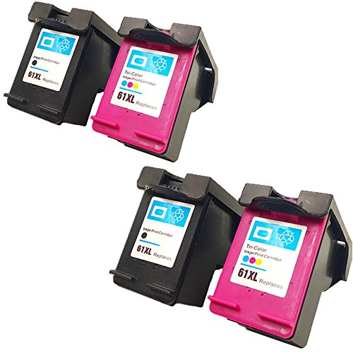 QINK 4Pack High Quality Remanufactured Ink Cartridge For HP 61XL 2*Black & 2*Color Ink For HP Printer Deskjet 3054 3056A 3510 3511 3512 ENVY 4504 4505 5530 5531 5535 OfficeJet 2620 4630 4632 4634 4635