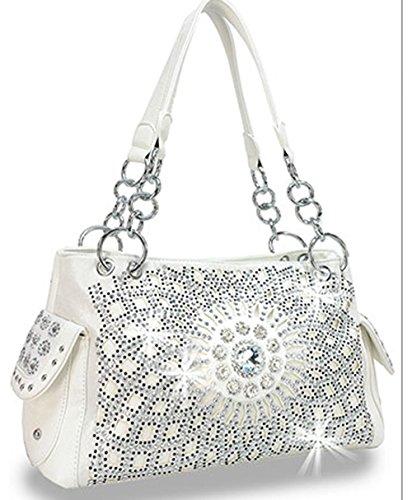 Zzfab Starburst Concealed Carry Purse Rhinestone Western Handbag White