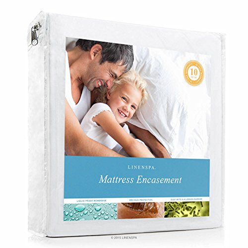 Encasement Cover - LINENSPA Zippered Encasement Waterproof, Dust Mite Proof, Bed Bug Proof, Hypoallergenic Breathable Mattress Protector - Queen Size