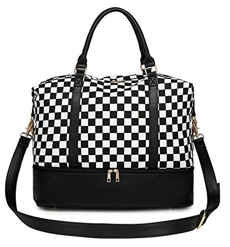 Womens Travel Weekend Bag Canvas Overnight Carry on Shoulder Duffel Beach Tote Bag (Plaid Black and White with shoe compartment)