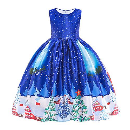 (HUANQIUE Girls Dress Christmas Eve Xmas Snow Holiday Party Dresses Blue 8-9)
