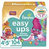 Pampers Easy Ups Pull On Disposable Potty Training Underwear for Girls, Size 6 (4T-5T), 104 Count, ONE MONTH SUPPLY (Packaging May Vary)