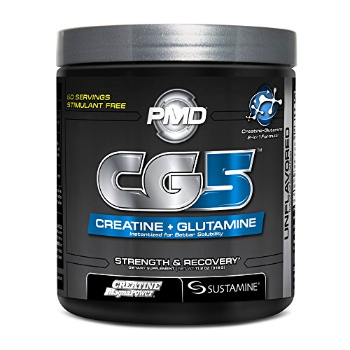 PMD Sports CG5 Premium Creatine and Glutamine Formula for Maximum Strength, Power and Recovery - Build Lean Muscle and Increase Workout Performance - Pre and Post Workout - Unflavored - 60 Servings