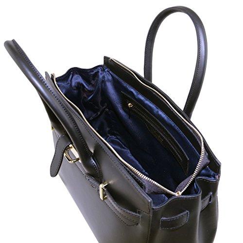 Tuscany Leather Elettra Bolso a mano en piel Ruga con detalles color oro Azul oscuro Bolsos con asas Negro