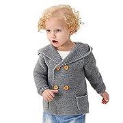 MiMiXiong Baby Sweater Boy Jacket Long Sleeve Hoodies Coats (12-18M, Grey)