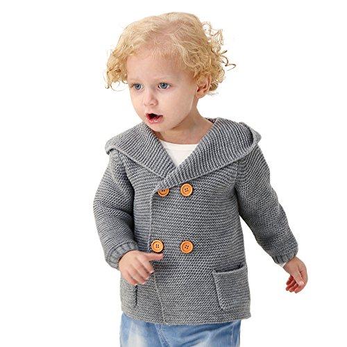 mimixiong Baby Boy Cardigan Sweater Cartoon Hoodies Long Sleeve Coats (6-12M,Grey) (Boy Sweater Baby)