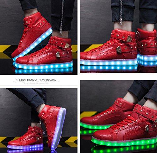 Gaorui Mujeres High Top Usb Carga Led Zapatos Intermitentes Zapatillas Light Up Zapatillas Moda Zapatillas Luminosas Zapatos Rojo