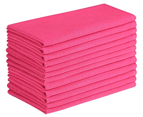 Cotton Clinic Cloth Dinner Napkins 20x20 - 12 Pack, 100% Cotton Soft and Comfortable Cocktail Napkins, Wedding Dinner Napkins with Mitered Corners and Generous Hem - Magenta (Pink Napkins Fabric)
