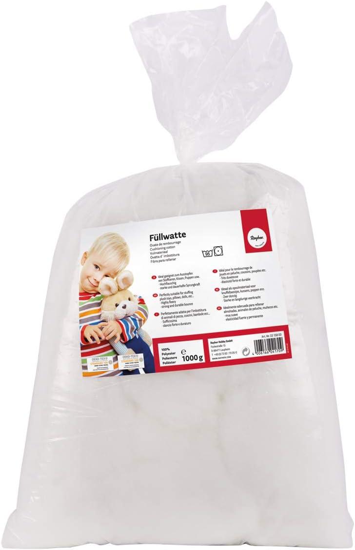Rayher Relleno algodón, Altamente frisado,Copos, Blanco, 1 kg