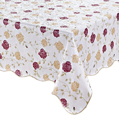 (Artisan Flair AF5472-010 Rose Floral Pattern Vinyl Waterproof With Flannel Backed Tablecloth-54 x)