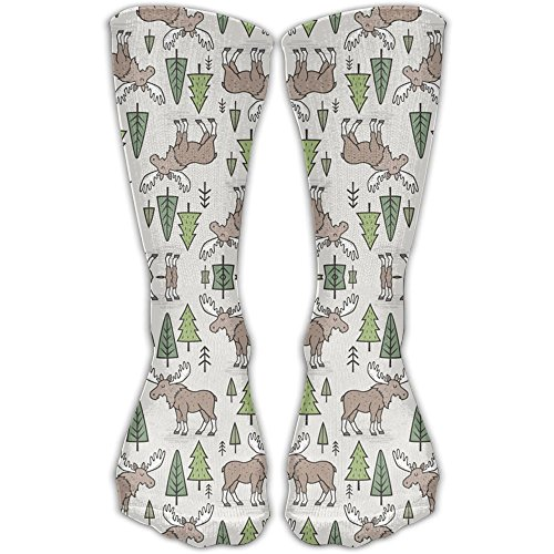 Forest Woodland Moose Trees On Cloud Grey Colorful Patterned Crew Socks Long Compression Socks For Women And (Forest Ribbed)