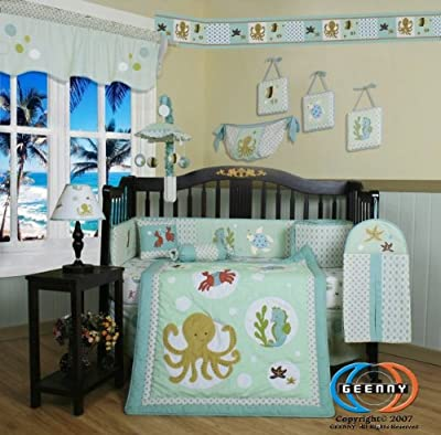 Boutique Beautiful Sea World Animals 13pcs Crib Bedding Set from GEENNY