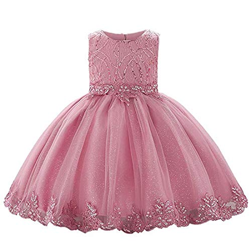 (Flower Girls Summer Sequin Chiffon Special Occasion Party Princess Dress Baby Girls Dresses for Wedding Prom Lace Girl Dress for Christening Gown (Dusty Rose, 80))