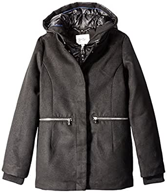Jessica Simpson Big Girls Single Breasted Hooded Faux Wool Coat, Black, 10/12