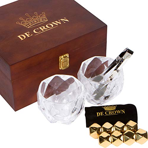 Gold Diamond Cut Whiskey Stones Gift Set in Fancy Handmade Wooden Box - 2 Large 11oz Drinking Glasses, 8 Stainless Steel Chilling Rocks, Tongs | Cool Reusable Ice Cubes | Ideal Present for Men & Women