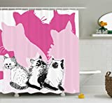 Black and Hot Pink Shower Curtains Animal Shower Curtain by Ambesonne, Baby Cute Cats Kittens with Shadow Sketchy Image Artwork, Fabric Bathroom Decor Set with Hooks, 75 Inches Long, Black White Light Pink and Hot Pink