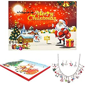 starton Christmas Advent Calendar Charm Bracelet Necklace DIY 22 Charms Set Fashion Jewelry Advent Calendars Kids Christmas Present (Sliver)