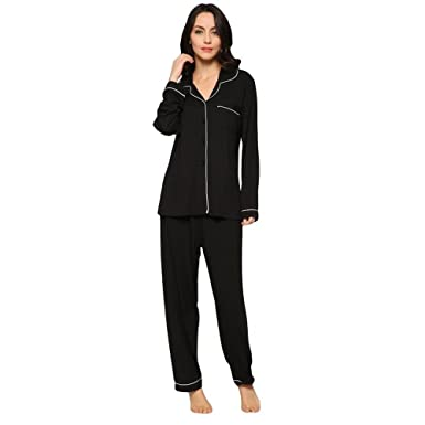 e789bc68d6e 7 VEILS Women Natural Bamboo Modal Knitting Plus Size Pajama Set with Long  Pant Sleepwear Loungwear