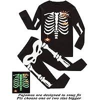 Dolphin&Fish Boys Halloween Pajamas Kids Skeleton Pjs Toddler Sleepwear Halloween Clothes