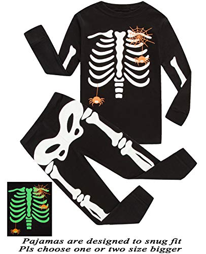 Boys Pajamas Skeleton Glow in The Dark Pajamas Halloween Costumes Sleepwear -