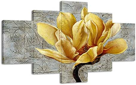 Large Yellow and Gray Flower Wall Decor Retro Yellow Flower Wall Art Yellow Wall Decor 5 Panels Poster