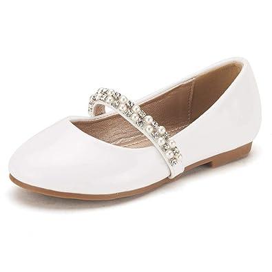 d4f8d40f9d85 DREAM PAIRS Little Kid Serena-100-White Pat Girl s Mary Jane Ballerina Flat  Shoes