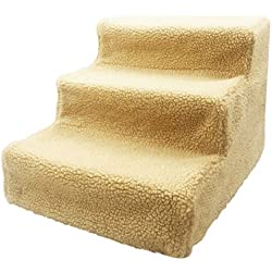 Maggie & Pets Pet stairs,dogs cats stairs ,3 Steps ladder,Slipcover Indoor at home Removable Portable Stable,Supports Up to 45 lbs