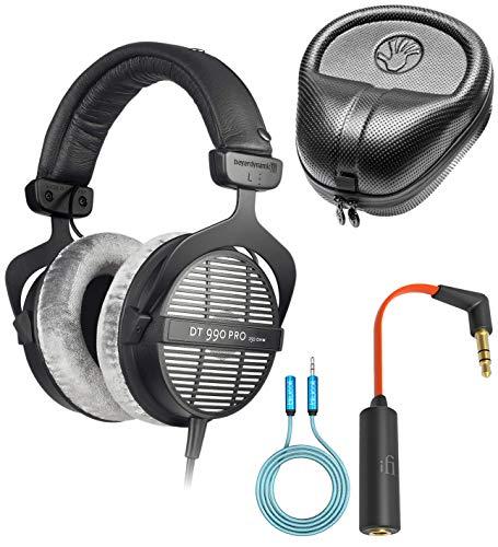 Beyerdynamic DT 990 PRO 250 Ohm Open Back Headphones Bundled with SLAPPA Full Sized Hardbody PRO Headphone Case, Ear Buddy Headphone Optimizer and Travel Kit and Blucoil 6-Ft Audio Extension Cable