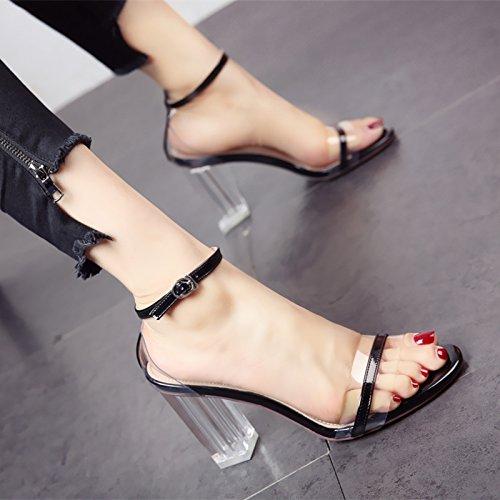 YMFIE Verano Sexy Dedos Zona pelúcida Zapatos de tacón de la Dama Elegante Temperamento cómodas Sandalias. black