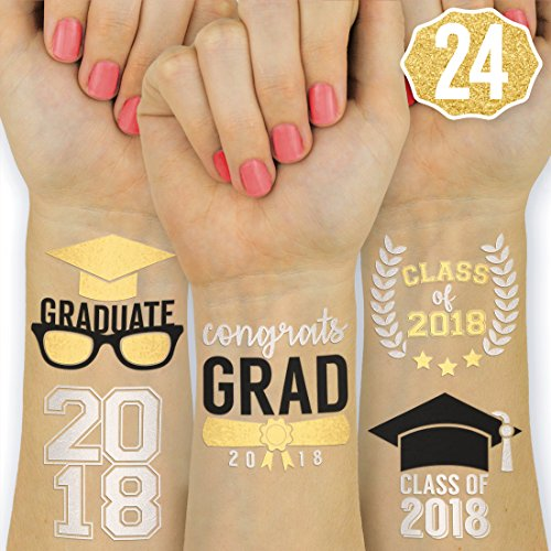 Graduation Party Supplies 2018 - Class of 2018 Flash Tattoos - 24 Temporary - Congrats Grad | Grad Party Decorations, Graduation Cap Tassel Decor, Gold Silver and Black