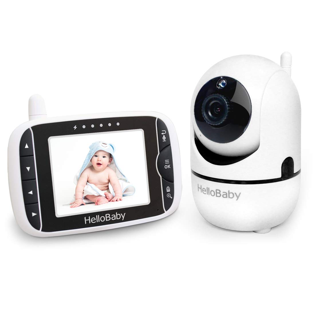HelloBaby Video Baby Monitor with Remote Camera Pan-Tilt-Zoom, 3.2 Color LCD Screen, Infrared Night Vision, Temperature Display, Lullaby, Two Way Audio, with Wall Mount Kit