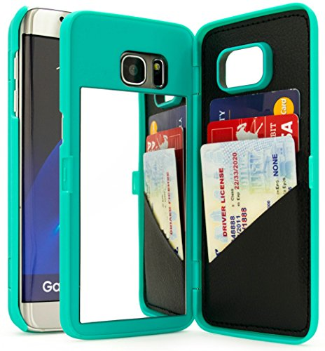 Galaxy S7 Edge Case, Bastex Teal Hidden Back Mirror Wallet Case with Stand Feature and Card Holder for Samsung Galaxy S7 Edge G935