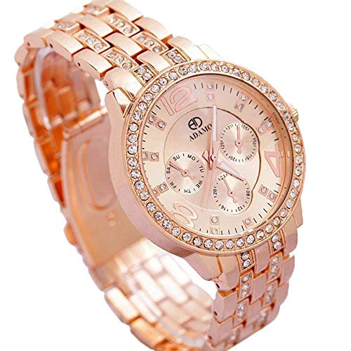 ADAMO Analogue Women's & Girl's Watch (Gold Dial Brown Colored Strap)