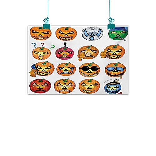 Mdxizc Art Oil Paintings Halloween Carved Pumpkin with Emoji Faces Halloween Inspired Humor Hipster Monsters Artwork for Living Room Bedroom Hallway Office W28 xL20 Orange]()