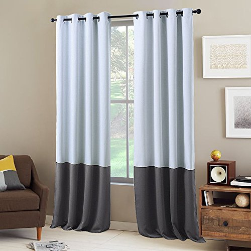 NICETOWN Colorblock Blackout Curtain Panels - Home Decor Two Tone Colorblock Blackout Draperies White and Grey Window Treatment for Bedroom (2 Panels, 95 inch Long)