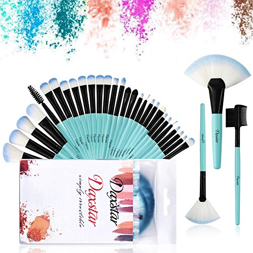 Makeup Brushes,32 Pieces Premium Synthetic Make Up Brush Kits for Foundation Blending Blush Eye Shadow Brushes Set Blue Make-up Tools with Bag