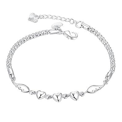 Amazon.com  Ameesi Women s 925 Sterling Silver Charm Love Heart ... 0da4bf2260