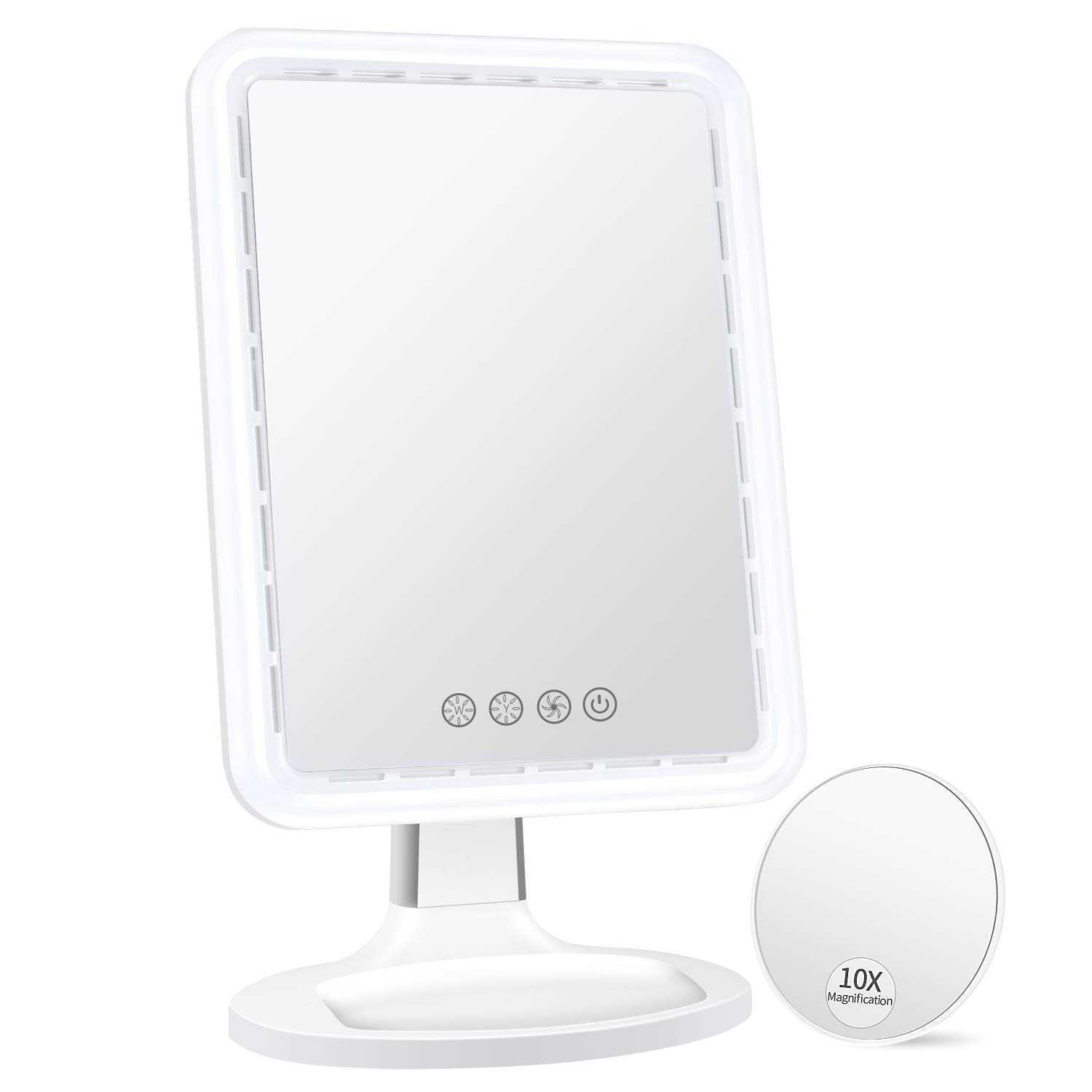 BESTOPE Makeup Mirror with Fan,3 Levels Wind,66 PCS Adjustable Warm and Cold Led Light,17.6 inch Larger Touch Screen,Detachable 10X Magnifying Mirror,180° Rotation