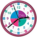 Educational Wall Clock – Time Teaching Clock Perfect for Teacher's Classrooms and Kid's Bedrooms, Pink Review