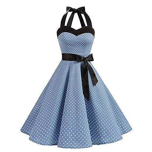 DRESSTELLS Vintage 1950s Rockabilly Polka Dots Audrey Dress Retro Cocktail Blue Small White Dot M