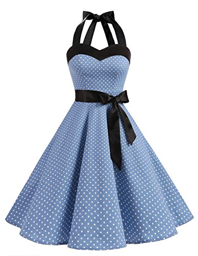 DRESSTELLS 50s Retro Halter Rockabilly Polka Dots Audrey Dress Cocktail Dress Blue Small White Dot 2XL